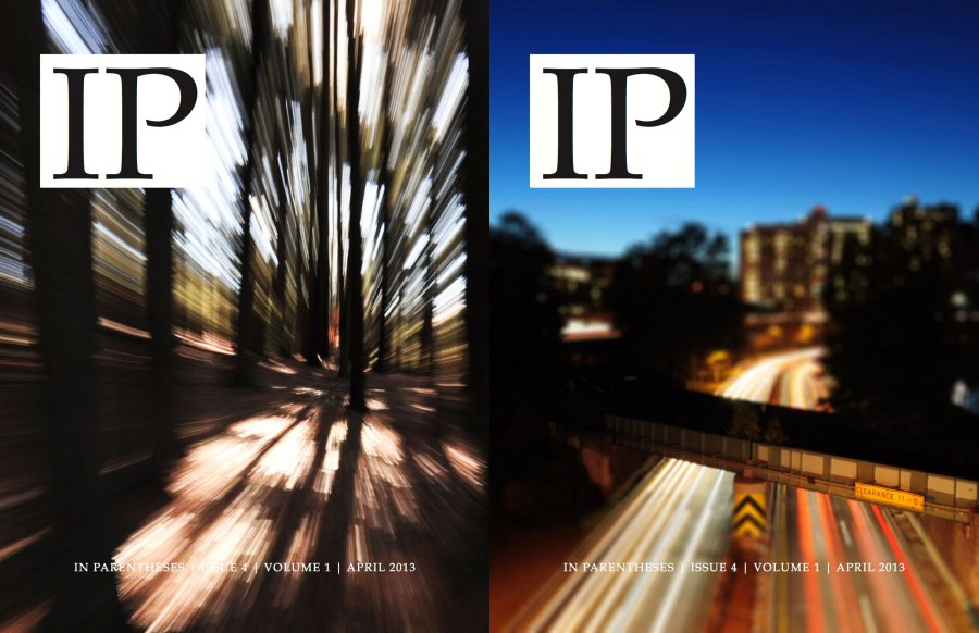 The two covers for the April 2013 issue of In Parentheses