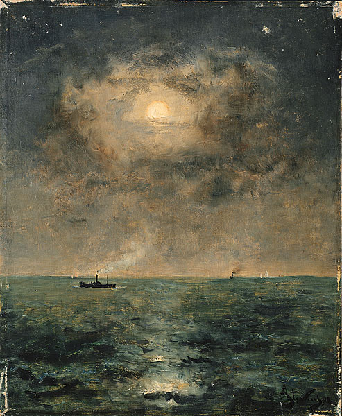 """Moonlit Seascape"" by Alfred Stevens"