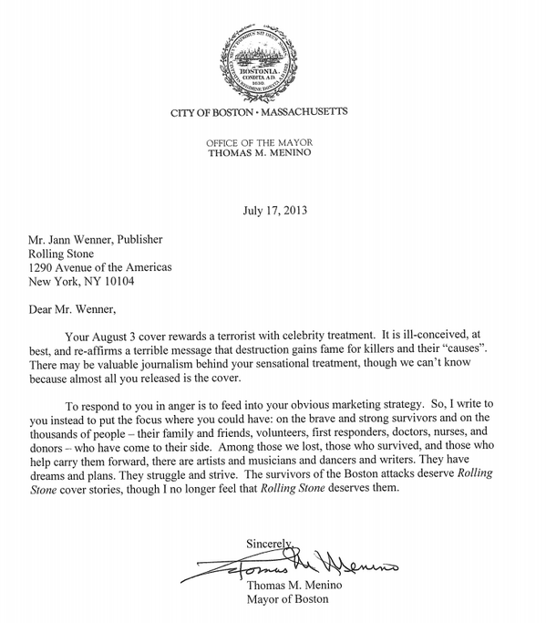 Boston Mayor Tom Menino, Letter to Rolling Stone, July 17