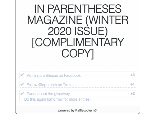Enter the In Parentheses Winter 2020 Giveaway here: http://gvwy.io/3ax56v5